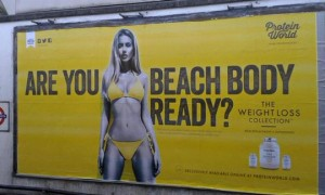 Protein World's beach body ad on the London underground